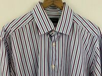 David Donahue 15.5 34/35 Spread Collar Button Down Shirt Blue Purple Stripe