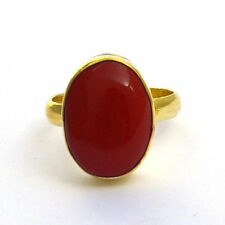 Oval Cab Red Coral Gemstone 14K Yellow Gold Wedding Handmade Gift Ring Size 7
