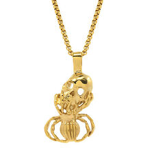 """Mens Gold Tone Stainless Steel Spider Skull Pendant 24"""" 4mm Box Necklace Chain"""