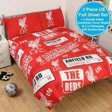 LIVERPOOL FC PATCH UK DOUBLE/US FULL UNFILLED DUVET COVER & PILLOWCASE SET NEW