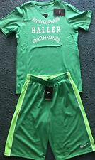 NWT Nike Boys YLG Green/Light Green/White BALLER Baseball Shorts Set Large