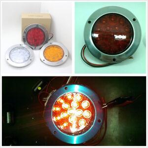 1 Pcs Truck Trailer RV Red 16 LED Tail Light 12V 24V Round Back-up Reverse Lamp