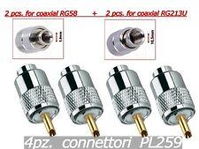 4PZ. CONNETTORI PL259 PER CAVO COASSIALE RG58 / RG213 - (2Pz RG58 + 2Pz RG213)