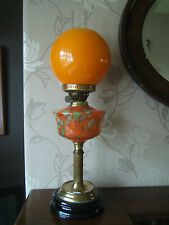 Vintage Orange lamp with a beautiful design font stone base crack on font   OL11