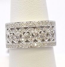 1749-14K WHITE GOLD RING 56 DIAMONDS 0.43 CTS 6.20 GRAMS SIZE 7