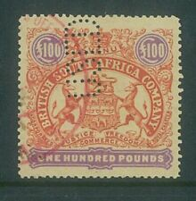 RHODESIA - 1896 £100 Large arms Revenue (Perf 12.5) .. VERY FINE used (EM781)