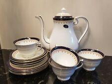 Aynsley Leighton 1646 Cobalt Teapot, Cups & Saucers, Plates Set for 4- 13 Pieces