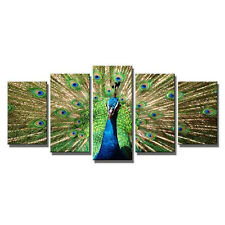Green Peacock Painting Pictures Canvas Print Wall Art Home Decor Poster Framed