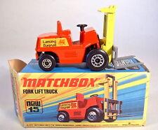 Matchbox Superfast Nr.15B Fork Lift Truck schwarze Bodenplatte mit Box