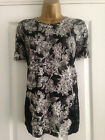 BNWT NEXT Black Grey White Floral Print Short Sleeved Lace Trim Top Size 16