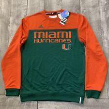 NEW w/ Tag Miami Hurricanes ADIDAS Climalite Pullover Crewneck Sweater Men Small