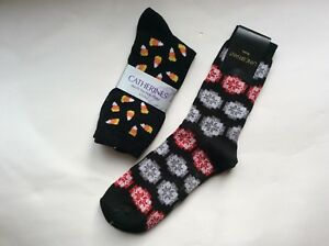 2 PAIRS LADIES QUEEN SIZE NOVELTY CHRISTMAS & HALLOWEEN SOCKS * NWT * BLACK