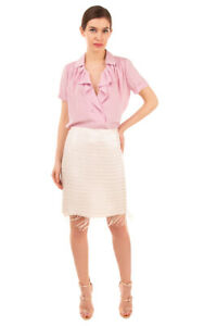 RRP€350 ARMANI COLLEZIONI Silk Straight Skirt Size 48 / 2XL Sequin Made in Italy