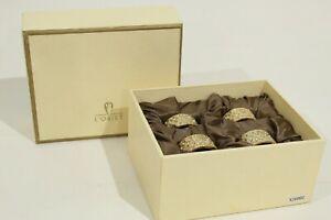 P- L'Objet 4pc Napkin Ring Set New in Box Gold Tone Peridot Stone Braided #3