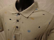 Vurt 100% Cotton Short Sleeve Gray Polo Shirt Mens Size Medium Geometric