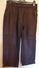 Per Una UK12R EU40R US8R brown herringbone linen cropped trousers