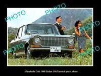 OLD LARGE HISTORIC PHOTO OF 1963 MITSUBISHI COLT 1000 SEDAN LAUNCH PRESS PHOTO