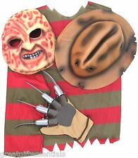 NIGHTMARE ON ELM STREET FREDDY KRUEGER Kruger COSTUME SHIRT HAT MASK GLOVE Adult