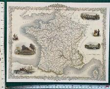 Old Antique Historic vintage colour map 1800s: France: Tallis: Reprint 1851