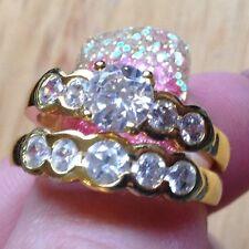 New Size 8 Gold Electroplate Wedding Band & Engagment Ring Wedding Set SALE