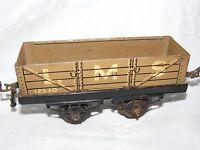 MECCANO HORNBY TRAIN WAGON LMS 12530 'O' GAUGE FOR CLOCKWORK  TIN PLATE KHAKI #2