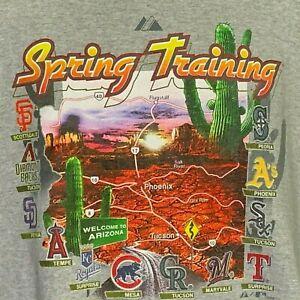 MLB Spring Training 2008 T-Shirt Gray 2XL AZ Map SF SD KC A's Cubs Sox Angels +