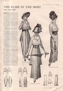1914 Original Delineator Fashion Print - Skirt flares to the hip