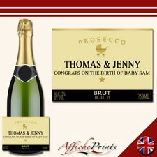 L58 Personalised Prosecco Gold New Baby Birth Brut Bottle Label - Perfect Gift!