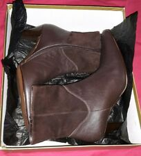 ladies gorgeous italian brown suede and leather size 3/ 36 high heel ankle boots