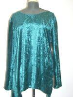 dark green crush velvet long sleeved tunic kaftan top 16 18 20 22 24 26 28 30 32