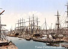 The Shipping Docks, Hamburg, Germany - circa 1890 - Historic Photo Print