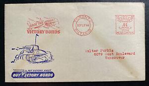 1944 Toronto Canada Patriotic Meter Cancel Cover To Vancouver Buy Victory Bond B