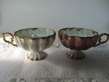 2 Vintage Scalloped Tea Cups Iridescent Purple & White Pearlized/Gold Trim-Japan