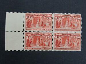 Nystamps US Stamp # 241 Mint OG H $5000 Rare Block m28xt
