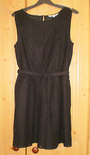 Red Herring Black Belted Lined Lace Dress - Size 10