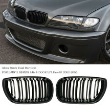 For BMW 3 Series E46 4 Door 2002-2006 Facelift Front Twin Bar Grille Gloss Black