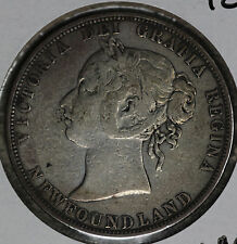 Totally Original Better Condition 1885 Newfoundland 50 Cents Silver Coin.