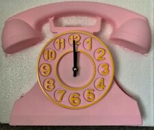 TIK TOCK Large Pink Telephone Wall Clock Includes Moving Phone