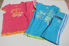 ADIDAS NWT 2PC Top Shirt Capri Pant Pink Blue Sporty Sweet Super Star 2 5 6 6X