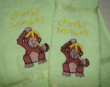 personalised bath towel and face washer gift set CHEEKY MONKEY add a FREE name