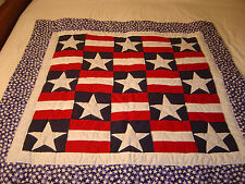 "LANCASTER AMISH AMERICAN HERITAGE STARS & STRIPES WALLHANGING QUILT 39"" X 40 """