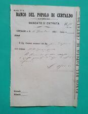 MANDATO D'ENTRATA LIRE 1,500 BANCO DEL POPOLO DI CERTALDO 1866