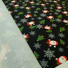 1.3 Metre snowflake santa xmas print spun poly fabric strecth crafts top quality
