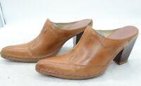 Frye Phoenix Leather Slip On High Stacked Heel Western Womens Mules Sz 10