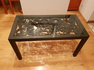 Engine parts coffee table, industrial style, metal art