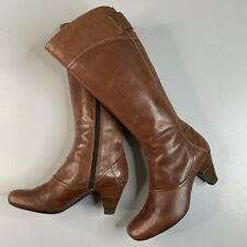 CLARKS Softwear • Brown Calf Length Zip Up Western boots • Size 6 E