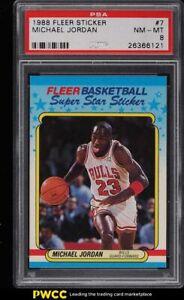1988 Fleer Sticker Michael Jordan #7 PSA 8 NM-MT