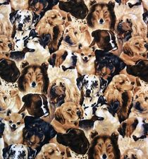 "Dog Breed Flannel Fabric David Textile 43"" Wide By The Yard Huskie Collie Lab"