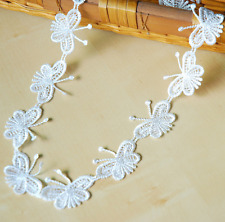 3 Yards White Butterfly embroidery Lace Trim Wedding Bridal clothing accesories