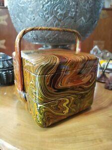 Vintage plastic lacquer bento, stacking lunch box. Orange, yellow swirls